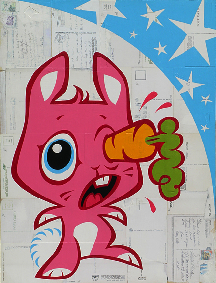 Plankton  &nbsp -  <strong>Ouchy Bunny (Carrots are good for your eyes only if used as directed)</strong> (2005<strong style = 'color:#635a27'></strong>)<bR /> Mixed Media on Board ,   24 x 18 inches