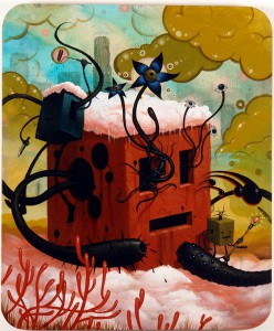 Jeff  Soto -  <strong>Our New Home</strong> (2006<strong style = 'color:#635a27'></strong>)<bR /> Acrylic on Wood  36 x 30 inches