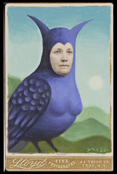 Alex  Gross -  <strong>Owl</strong> (<strong style = 'color:#635a27'></strong>)<bR /> Collage, Acrylic and Oil on Antique Cabinet Cards,   Image Size: 6 x 4 inches,   Framed Size: 10 x 8 inches