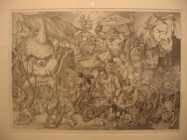 "Todd  Schorr -  <strong>The Parade of the Damned</strong> (2005<strong style = 'color:#635a27'></strong>)<bR /> Graphite on Paper  Image size: 16"" x 23""  Framed size: 24.5"" x 31""  -Contact gallery for availability-"