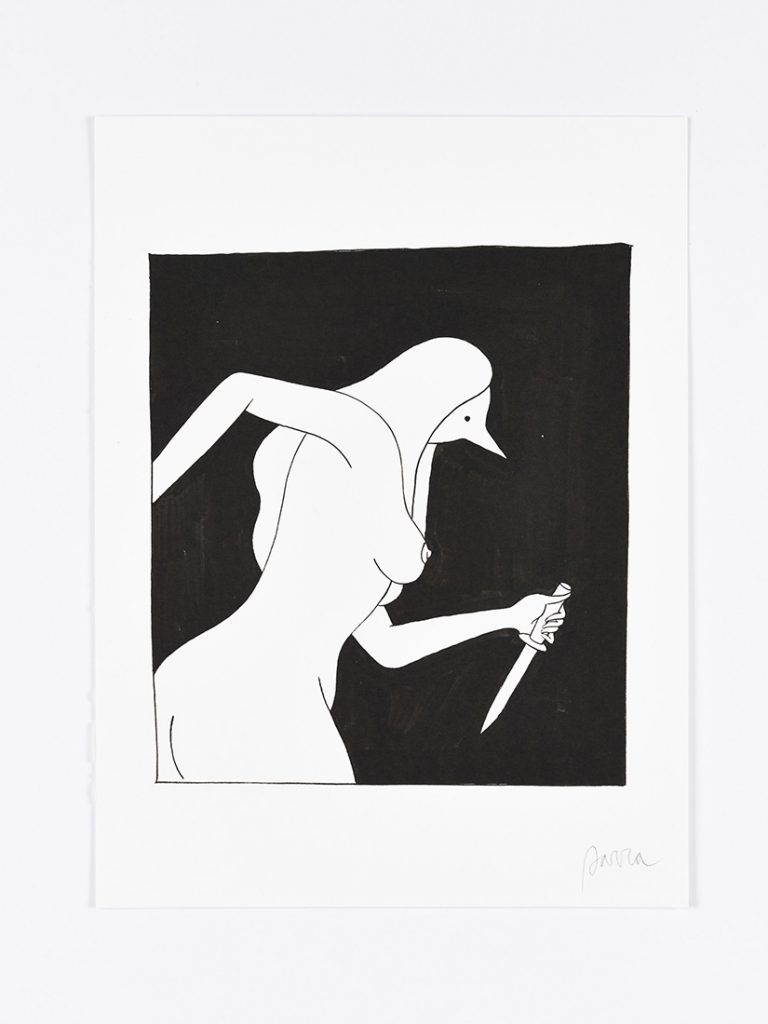 Parra &nbsp -  <strong>The Chase</strong> (2014<strong style = 'color:#635a27'></strong>)<bR /> ink on paper,   15.75 x 11.75 inches  (40 x 30 cm)  19 x 15 inches, framed