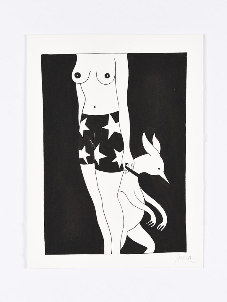 Parra &nbsp -  <strong>Problem Dog</strong> (2014<strong style = 'color:#635a27'></strong>)<bR /> ink on paper,   15.75 x 11.75 inches  (40 x 30 cm)  19 x 15 inches, framed