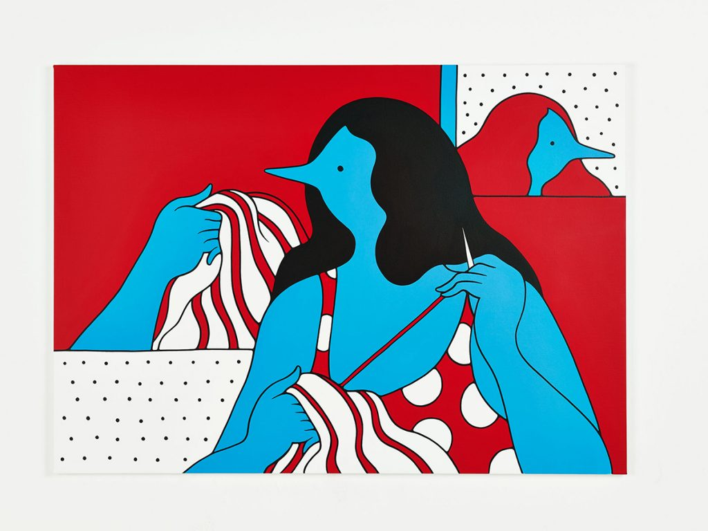 Parra &nbsp -  <strong>Sowing the Seeds</strong> (2014<strong style = 'color:#635a27'></strong>)<bR /> acrylic on canvas,   39.37 x 55.12 inches  (100 x 140 cm)