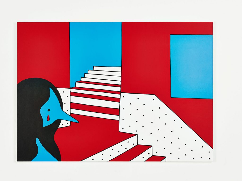 Parra &nbsp -  <strong>Into a Shady Place</strong> (2014<strong style = 'color:#635a27'></strong>)<bR /> acrylic on canvas,   39.37 x 55.12 inches  (100 x 140 cm)