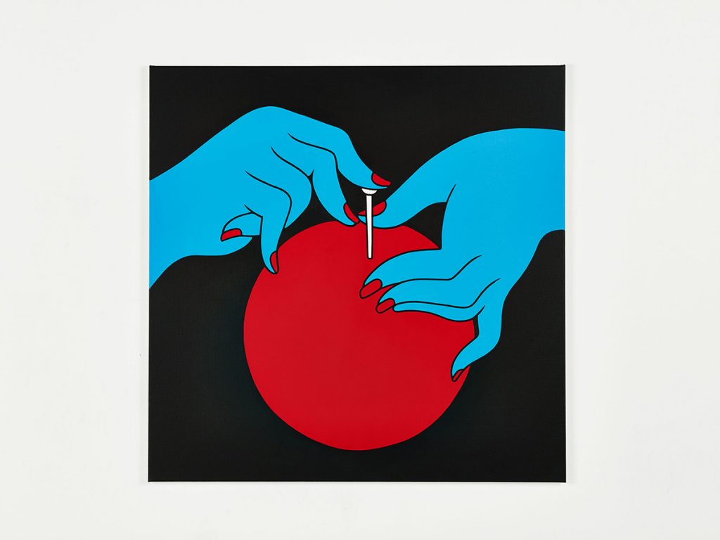 Parra &nbsp -  <strong>Bottled Violence</strong> (2014<strong style = 'color:#635a27'></strong>)<bR /> acrylic on canvas,   39.37 x 39.37 inches  (100 x 100 cm)