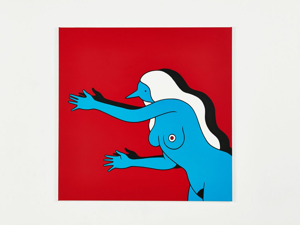 Parra &nbsp -  <strong>Don't Go</strong> (2014<strong style = 'color:#635a27'></strong>)<bR /> acrylic on canvas,   39.37 x 39.37 inches  (100 x 100 cm)