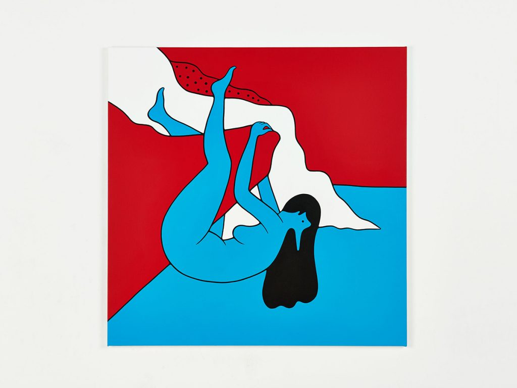 Parra &nbsp -  <strong>Hanging Cliff</strong> (2014<strong style = 'color:#635a27'></strong>)<bR /> acrylic on canvas,   39.37 x 39.37 inches  (100 x 100 cm)