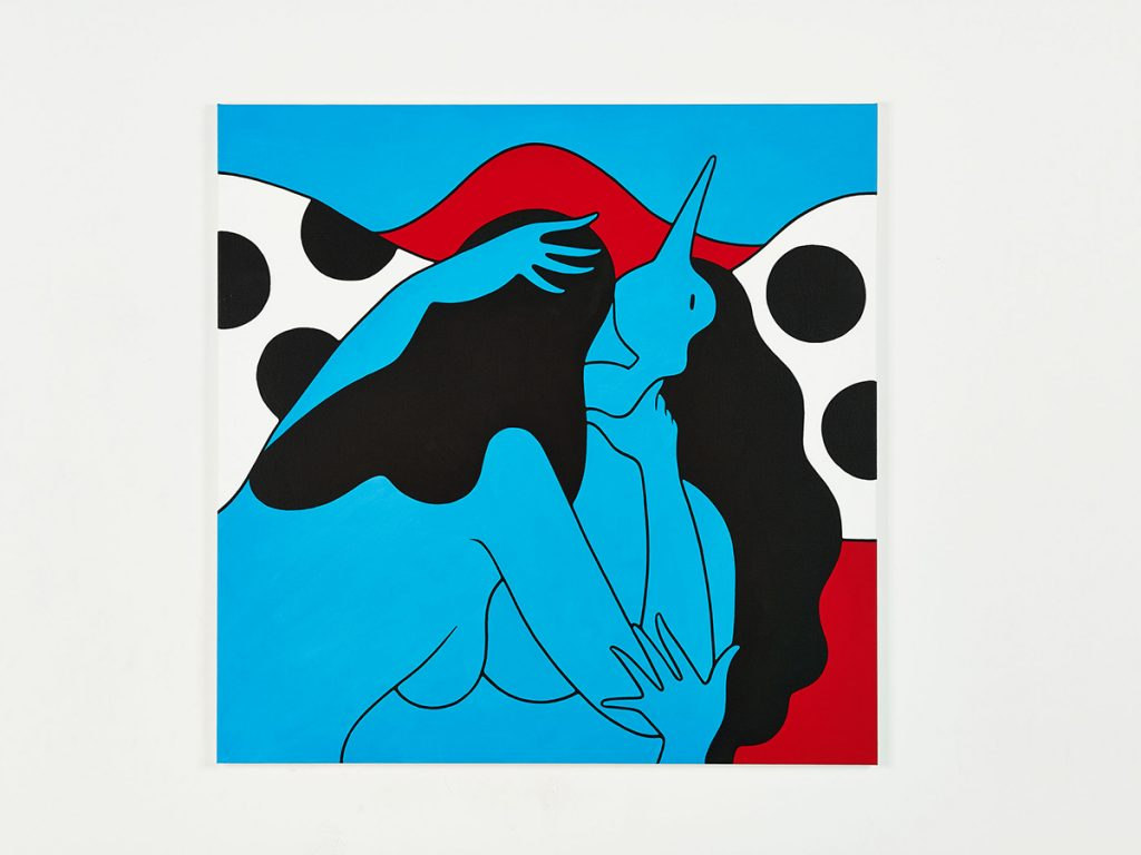 Parra &nbsp -  <strong>This Womans Work</strong> (2014<strong style = 'color:#635a27'></strong>)<bR /> acrylic on canvas,   39.37 x 39.37 inches  (100 x 100 cm)
