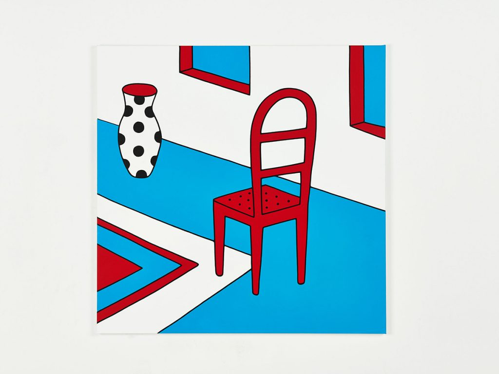 Parra &nbsp -  <strong>The Chair</strong> (2014<strong style = 'color:#635a27'></strong>)<bR /> acrylic on canvas,   39.37 x 39.37 inches  (100 x 100 cm)