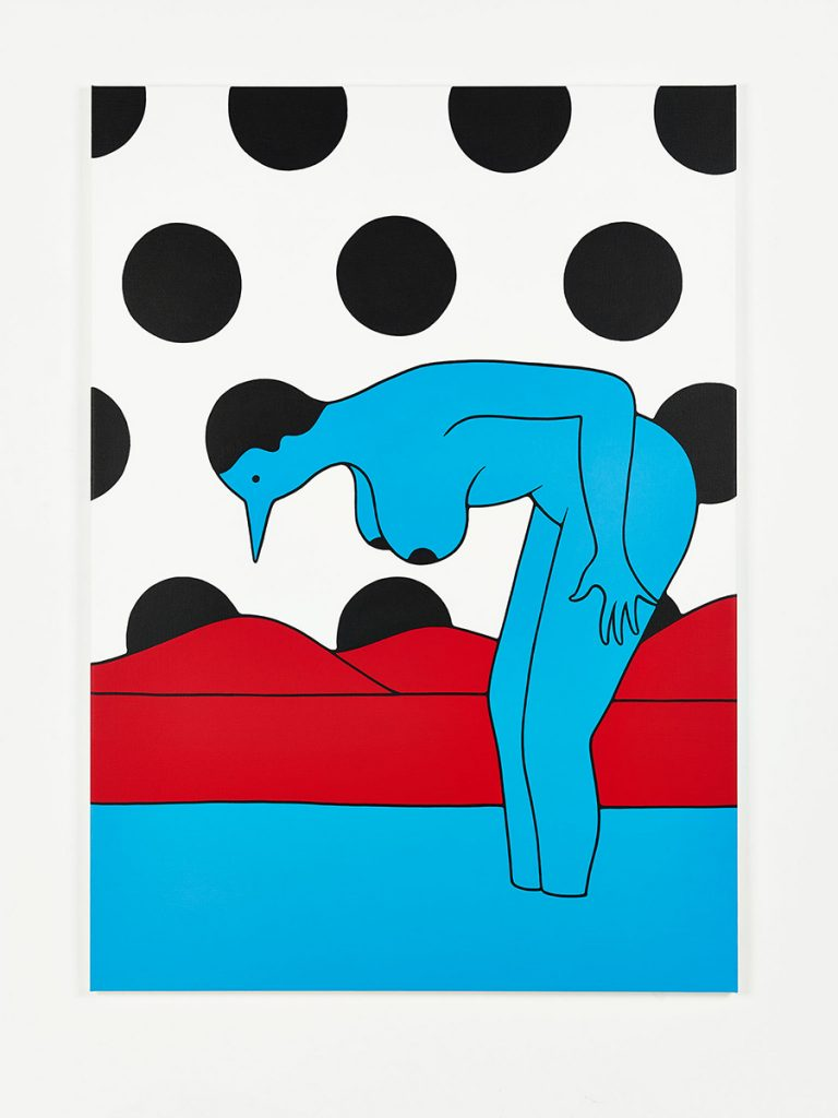 Parra &nbsp -  <strong>Lost Him</strong> (2014<strong style = 'color:#635a27'></strong>)<bR /> acrylic on canvas,   39.37 x 55.12 inches  (100 x 140 cm)