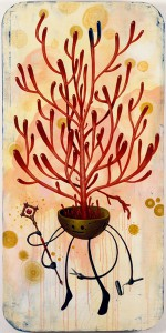 Jeff  Soto -  <strong>Peaceful Succulent</strong> (2006<strong style = 'color:#635a27'></strong>)<bR /> Acrylic on wood  48 x 24 inches