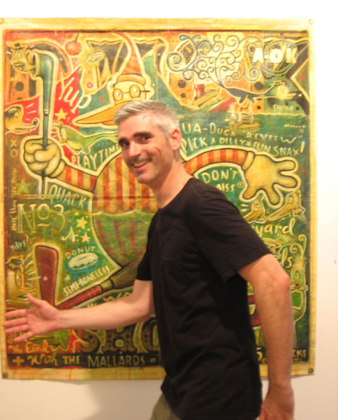 "Daniel  Peacock -  <strong>Daniel Peacock</strong> (<strong style = 'color:#635a27'></strong>)<bR /> Daniel Peacock with his painting ""Duck Show"""