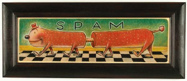 Daniel  Peacock -  <strong>Spam</strong> (<strong style = 'color:#635a27'></strong>)<bR /> acrylic on canvas,   10 x 35 in. (25.40 x 35 cm),   16 1/2 x 42 in. (41.91 x 106.68 cm) framed