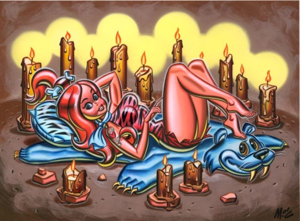Mitch  O'Connell -  <strong>Pebbles</strong> (2004<strong style = 'color:#635a27'></strong>)<bR /> Frame Size: 21.75''x17.75''  Acrylic on Board.