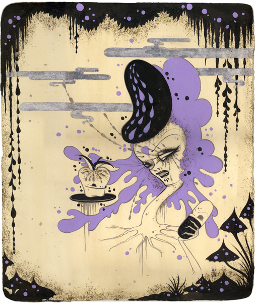 Camille Rose  Garcia -  <strong>Pick Your Poison</strong> (2008<strong style = 'color:#635a27'></strong>)<bR /> Acrylic, Silver Leaf and Glitter on Paper,   Image size: 18 x 15 1/4 inches,   Framed size: 20 1/8 x 17 1/4 inches