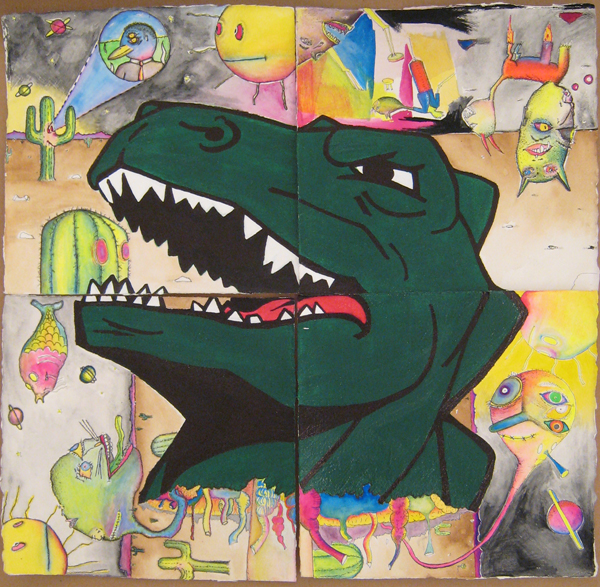 Gibby  Haynes -  <strong>Untitled</strong> (<strong style = 'color:#635a27'></strong>)<bR /> Mixed media on paper,   19 x 19 inches