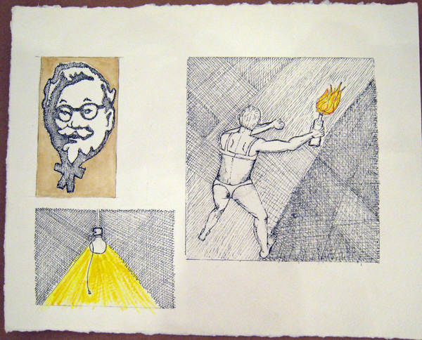 Gibby  Haynes -  <strong>Untitled</strong> (<strong style = 'color:#635a27'></strong>)<bR /> Mixed Media on Paper,   8 1/4 x 10 1/4 inches
