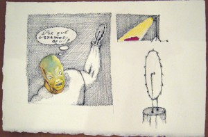 Gibby  Haynes -  <strong>Untitled</strong> (<strong style = 'color:#635a27'></strong>)<bR /> Mixed Media on Paper,   9 3/4 x 6 3/4 inches