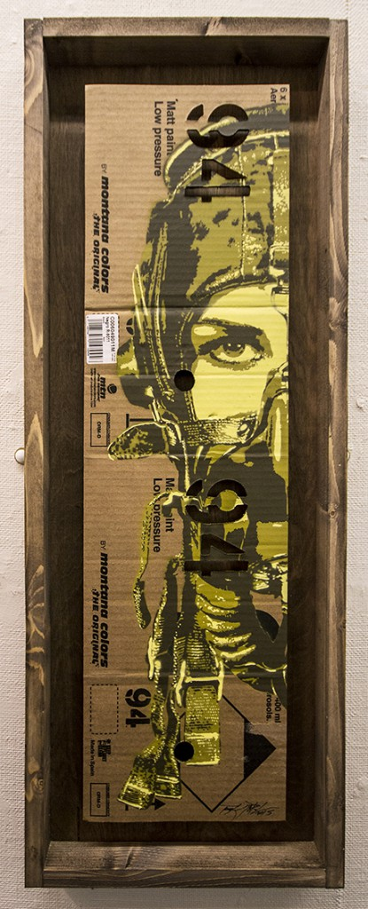 Tankpetrol  &nbsp -  <strong>Pilott 94</strong> (<strong style = 'color:#635a27'></strong>)<bR /> acrylic, stencils and spray paint on flattened montana 94 paint box,   27.6 x 11.8 inches  (78 x 30 cm)