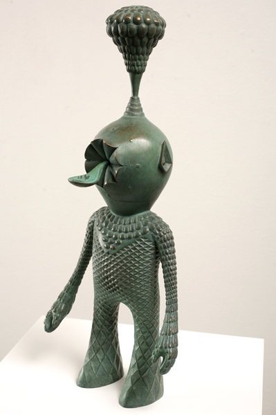 Mario  Martinez (Mars-1)  -  <strong>Pineal Man</strong> (2009<strong style = 'color:#635a27'></strong>)<bR /> bronze with green patina,   edition of 12,   20 x 8 1/4 x 6 1/4 inches