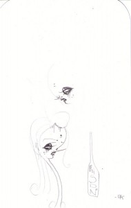 Camille Rose  Garcia -  <strong>Ghost Poision</strong> (2006<strong style = 'color:#635a27'></strong>)<bR /> Pencil on paper,   9 x 6 inches