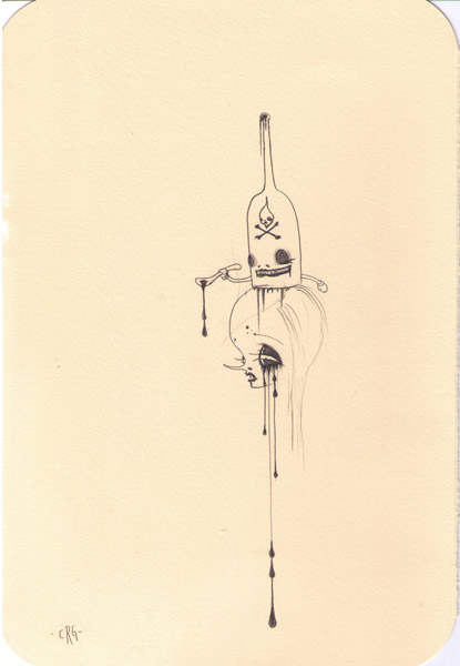 Camille Rose  Garcia -  <strong>Poison Head</strong> (2006<strong style = 'color:#635a27'></strong>)<bR /> Pencil on paper,   11 x 7 1/2 inches