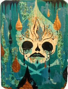 Camille Rose  Garcia -  <strong>Poison Skull</strong> (2006<strong style = 'color:#635a27'></strong>)<bR /> acrylic and gold mica on paper,   7 x 5.5 inches (17.78 x 13.97 cm)  14 x 12 x 2.5 inches, framed