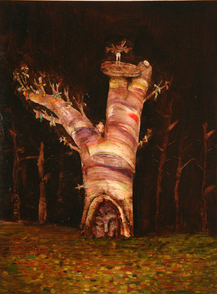 David  Choe -  <strong>Prayer Tree</strong> (<strong style = 'color:#635a27'></strong>)<bR /> Mixed media on Wood,   16 x 12 inches