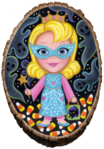 Lisa  Petrucci -  <strong>Prett Princess Goes Trick or Treating</strong> (<strong style = 'color:#635a27'></strong>)<bR /> Liquid Acrylic and Envirotex on Wood