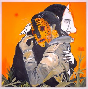 Saner   -  <strong>Primitive Love</strong> (2014<strong style = 'color:#635a27'></strong>)<bR /> acrylic on canvas,   39 x 39 inches  (99 x 99 cm)