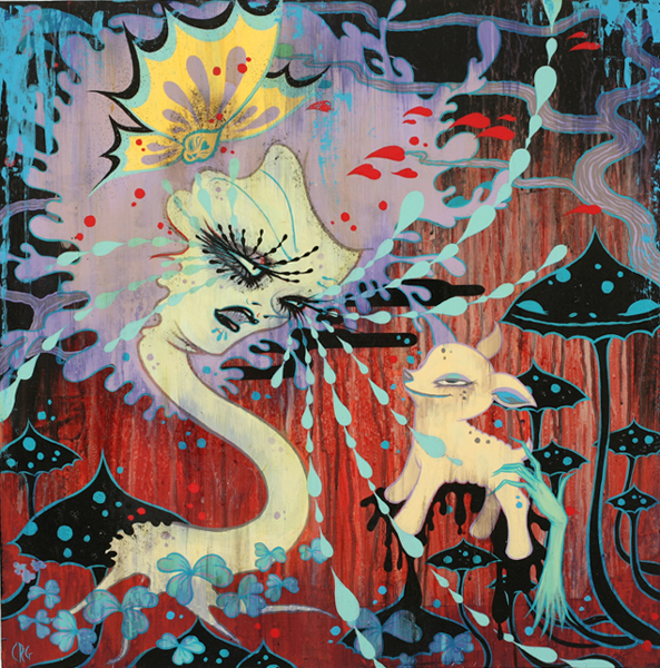 Camille Rose  Garcia -  <strong>Distraction Disorder</strong> (2008<strong style = 'color:#635a27'></strong>)<bR /> Acrylic, Silver Leaf  and Glitter on Wood Panel,   24 x 24 inches