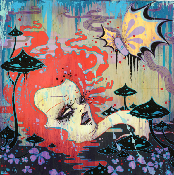 Camille Rose  Garcia -  <strong>Little Purple Pill Popper</strong> (2008<strong style = 'color:#635a27'></strong>)<bR /> Acrylic, Silver Leaf  and Glitter on Wood Panel,   24 x 24 inches