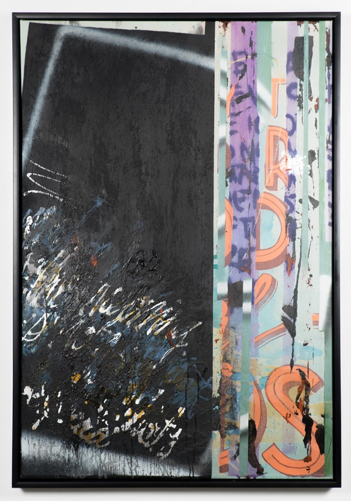Max  Rippon (RIPO) -  <strong>The Meaning of a Symbol Yet to Gain Understanding</strong> (2014<strong style = 'color:#635a27'></strong>)<bR /> acrylic, spray paint, varnishes and marble dust on canvas,   33.5 x 49 inches  (85 x 125 cm)