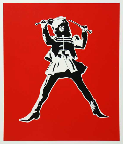 Blek le Rat  &nbsp -  <strong>Resist Against the Imposters</strong> (<strong style = 'color:#635a27'></strong>)<bR /> 3 Color Screenprint on 300 GM Somerset Satin Paper,   Edition of 85,   25 3/5 x 21 1/3 inches