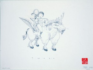 David  Choe -  <strong>Pegakorn Ride or Die</strong> (<strong style = 'color:#635a27'></strong>)<bR /> Ink on Paper,   9 x 12 inches