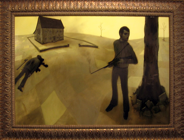 "Jonathan  Viner -  <strong>Rival's Lament</strong> (2005<strong style = 'color:#635a27'></strong>)<bR /> Oil on Panel  31.5"" x 44"" (framed)"