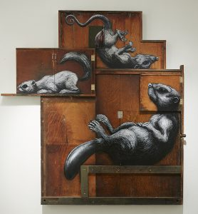 Roa      -  <strong>Composition I: Castor, Didelphimorphia, Sciuridae</strong> (2015<strong style = 'color:#635a27'></strong>)<bR /> mixed media,   71.75 x 67.25 x 3.75 inches  (182.25 x 170.82 x 9.53 cm)