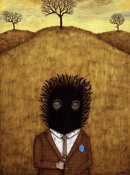 Andy  Kehoe -  <strong>Sanctioned Marauders</strong> (2007<strong style = 'color:#635a27'></strong>)<bR /> Acrylic and oil on panel,   16 x 12 inches