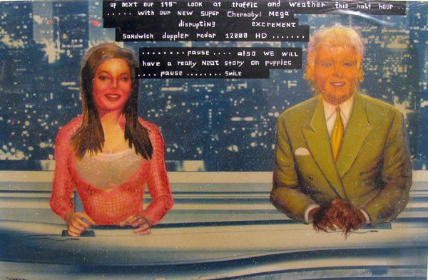 Erik Mark  Sandberg -  <strong>Glamour Panel 8</strong> (2008<strong style = 'color:#635a27'></strong>)<bR /> Cyanotype, Oil, Glitter, Resin, Mounted on Panel,   16 1/4 x 24 3/4 inches