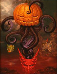 Todd  Schorr -  <strong>Under Autumn's Tentacled Spell</strong> (<strong style = 'color:#635a27'></strong>)<bR /> Giclee on paper,   S/N edition of 25,   Image size: 14 x 11 inches,   Paper size: 18 x 15 inches