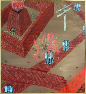 Andrew  Schoultz -  <strong>Broken Wall</strong> (2006<strong style = 'color:#635a27'></strong>)<bR /> Acrylic on Wood,   22 1/2 x 19 3/4 inches