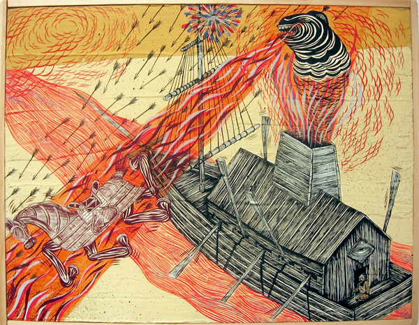 Andrew  Schoultz -  <strong>Slaveship Projection</strong> (2006<strong style = 'color:#635a27'></strong>)<bR /> Acrylic on Wood,   9 1/2 x 12 1/2 inches