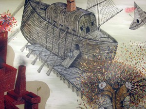 """Andrew  Schoultz -  <strong>Riverbank Elephant (Detail)</strong> (2006<strong style = 'color:#635a27'></strong>)<bR /> <font face=""""Arial"""">Acrylic on Wood,   Diptych</font>,   <font face=""""Arial""""> 4 x 8 feet each panel  8 x 8 feet total</font>"""
