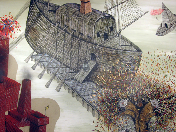 "Andrew  Schoultz -  <strong>Riverbank Elephant (Detail)</strong> (2006<strong style = 'color:#635a27'></strong>)<bR /> <font face=""Arial"">Acrylic on Wood,   Diptych</font>,   <font face=""Arial""> 4 x 8 feet each panel  8 x 8 feet total</font>"