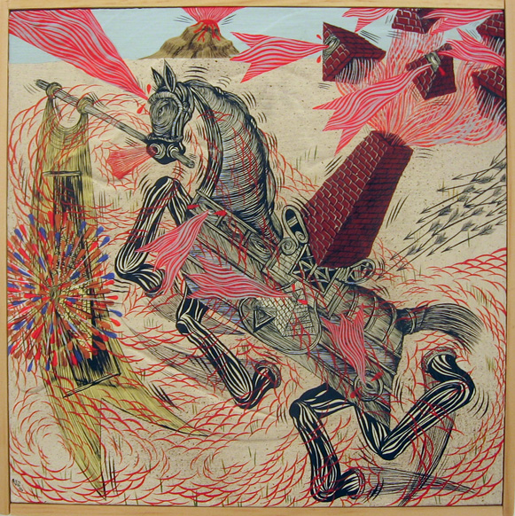 Andrew  Schoultz -  <strong>Horse with Chimney</strong> (2006<strong style = 'color:#635a27'></strong>)<bR /> Acrylic on Wood,   10 1/2 x 10 1/2 inches