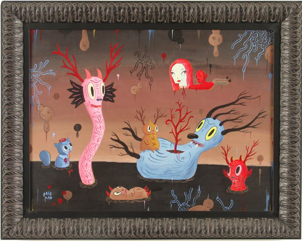 Gary  Baseman -  <strong>Sea Garden</strong> (2005<strong style = 'color:#635a27'></strong>)<bR /> Acrylic on Wood Panel,   18 x 24 inches