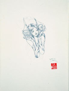 David  Choe -  <strong>Seashell Headphones</strong> (<strong style = 'color:#635a27'></strong>)<bR /> Ink on Paper,   12 x 9 inches