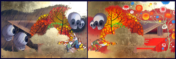 Andrew  Brandou -  <strong>Season of Planning, Season of Growth</strong> (2006<strong style = 'color:#635a27'></strong>)<bR /> Acrylic and gold leaf on maple panel, diptych,   24 x 72 inches