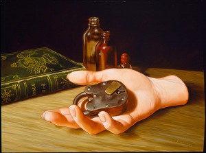 Isabel  Samaras -  <strong>Redivivus (The Secret)</strong> (2006<strong style = 'color:#635a27'></strong>)<bR /> Oil on wood,   Image size: 9 x 12 inches,   Framed size: 13 x 16 inches