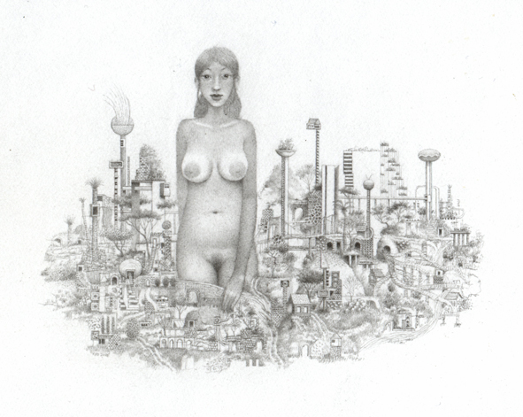 Randall  Sellers -  <strong>Silent Truth</strong> (2006<strong style = 'color:#635a27'></strong>)<bR /> Graphite on Paper,   Image size: 2 1/2 x 3 1/2 inches,   Paper size: 4 x 6 inches,   Framed size: 6 x 8 inches